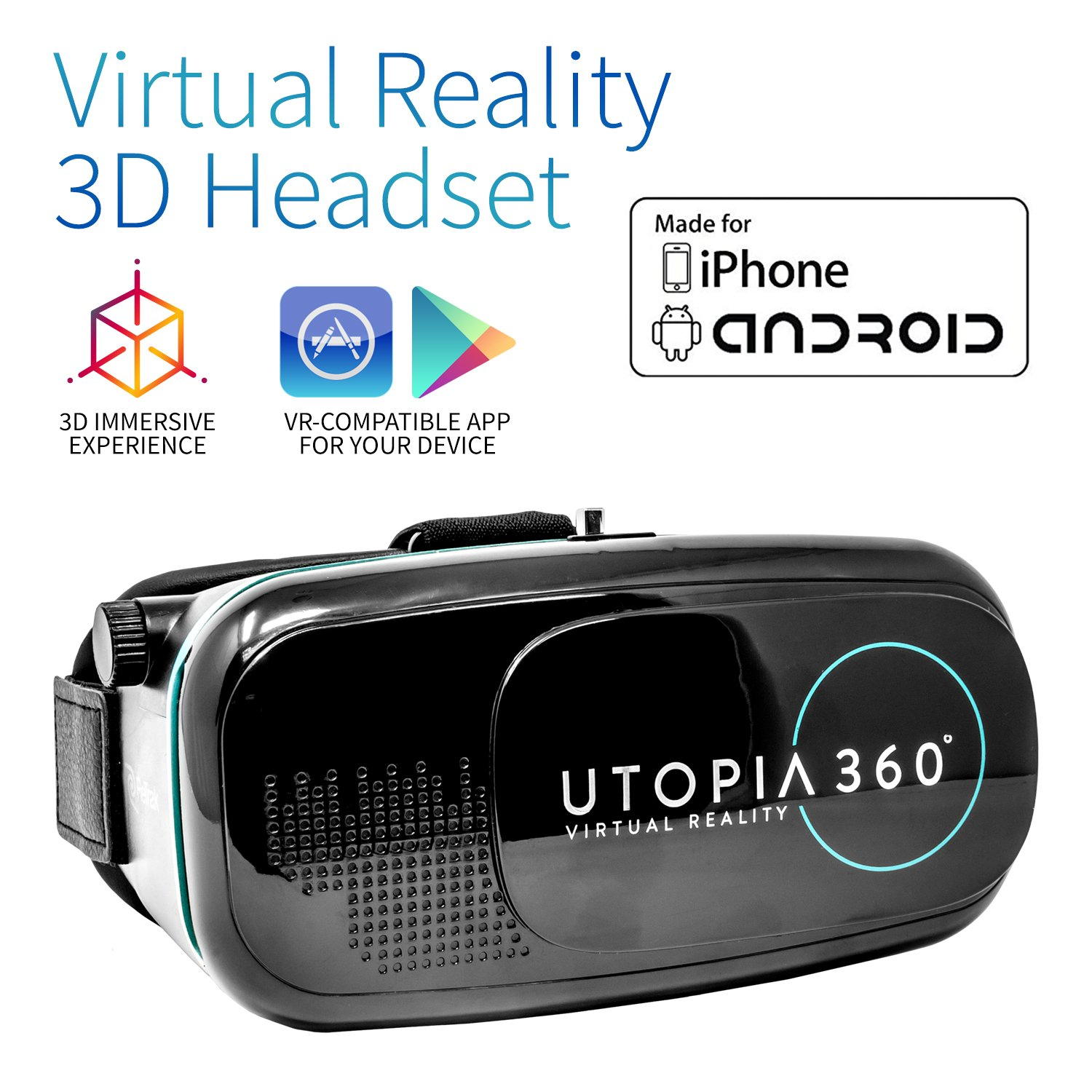 Utopia 360° VR Headset | 3D Virtual Reality Headset for VR Games, 3D Movies, and VR Apps - Compatible with iPhone and Android Smartphones (2018 Virtual Reality Headset Model)