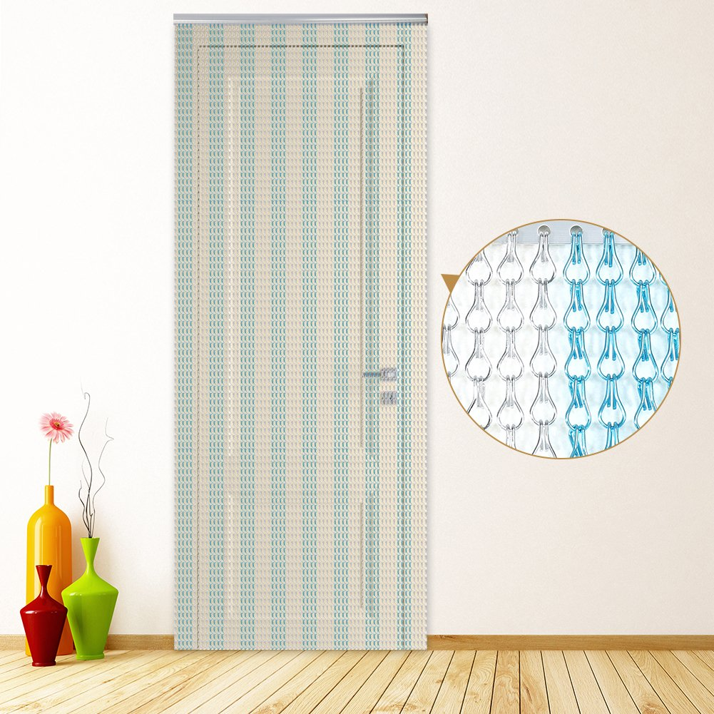 Blue Aluminium Door Window Metal Chain Link Curtain Fly Screen Strip Blinds Keeps out Flies Wasps Pest Insect /& Bees Size Zerone Silver 90cm x 214.5cm Approx.