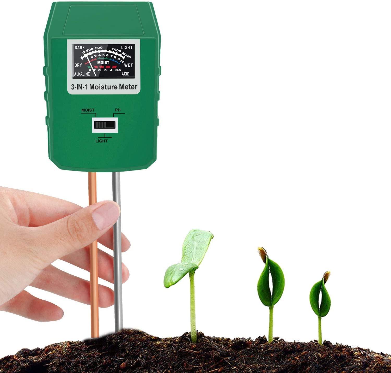Bearbro Soil Moisture Meter,3-in-1 Soil pH Meter,Test Kit for Moisture,Great for Home and Garden, Lawn, Farm, Indoor & Outdoor Use