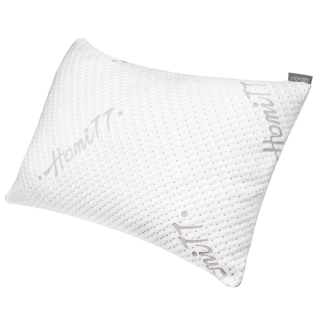 Homitt Schlafkissen aus geschredderten Memory Schaum, Hautsympathisch Queen 71x48cm Pillow, Kopfkissen Höhenverstellbar Antiallergie Atmungsaktiv Gesundheitskissen
