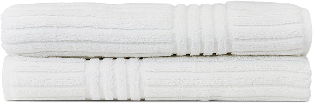 Gray Bath Towel Bare Cotton Luxury Hotel /& Spa Towel 100/% Pure Turkish Cotton Ribbed Channel Pattren Set of 2