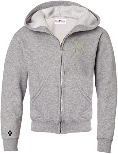 Poodle White Mens Full Zip Hooded Sweatshirt with Embroidered /& Bone Zipper Pull
