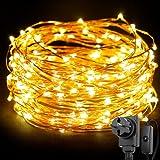 LE Stringa luminosa 20m, 200 LED in Rame Impermeabile e Immergibile IP65 Modellabile Bianco Caldo Per decorazioni Feste Alberi di Natale San Valentino