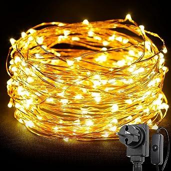 LE 20M (Gesamt 22m) 200 LEDs Kupferdraht LED Kupfer Lichterkette ...