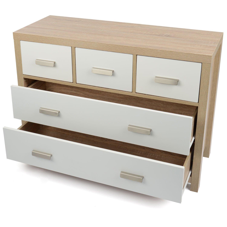 Oak Effect Bedroom Furniture Sets Bianco 5 Draw Oak Effect Chest Of Drawers Modern White Wood Design