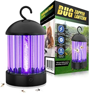 HBUDS 2 in 1 Electric Bug Zapper, Bugs Electric Killer Shock Fly Insect Trap, Indoor Pest Control Night Lamp, 2000V Powerful Mosquito Killer Light Bulb for Outdoor, Patio, Camping, Portable Night Lamp