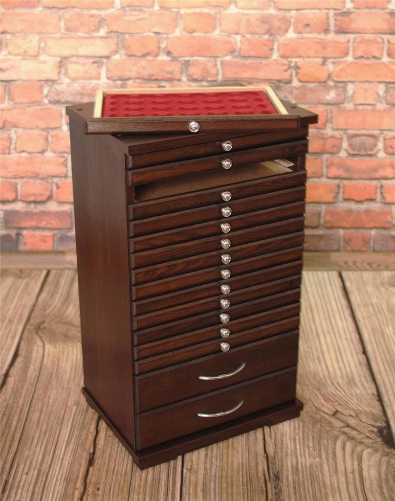 7d91336b53 Vassoio per monete Collection cabinet mobili in legno di bordo per 14  capsule per monete moneta vassoi + 2 grandi cassetti (vassoi per capsule  capsule ...