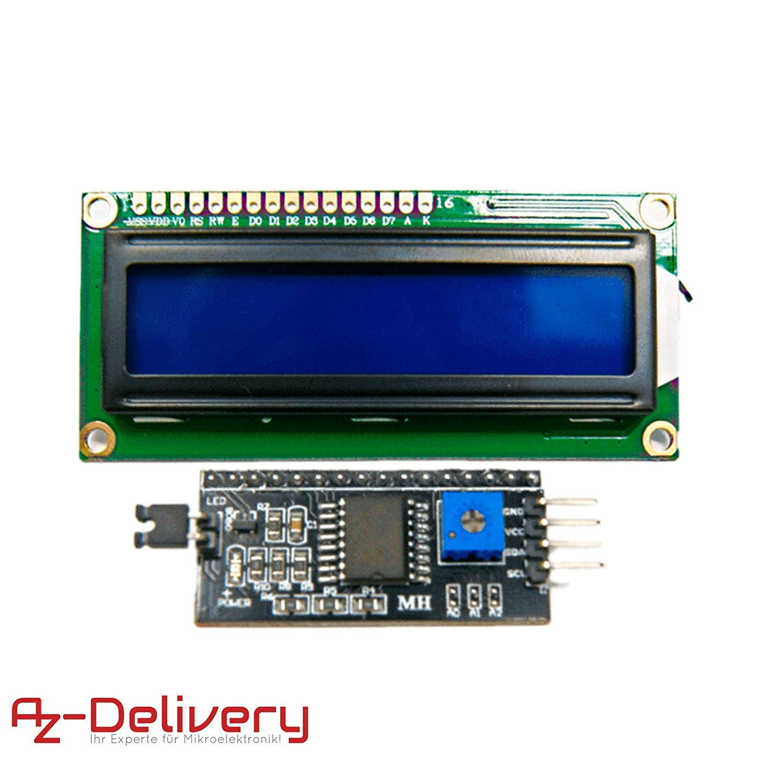 AZDelivery 1602 LCD 2x16 Characters Display Module with Blue Background I2C Bundle for Arduino including eBook