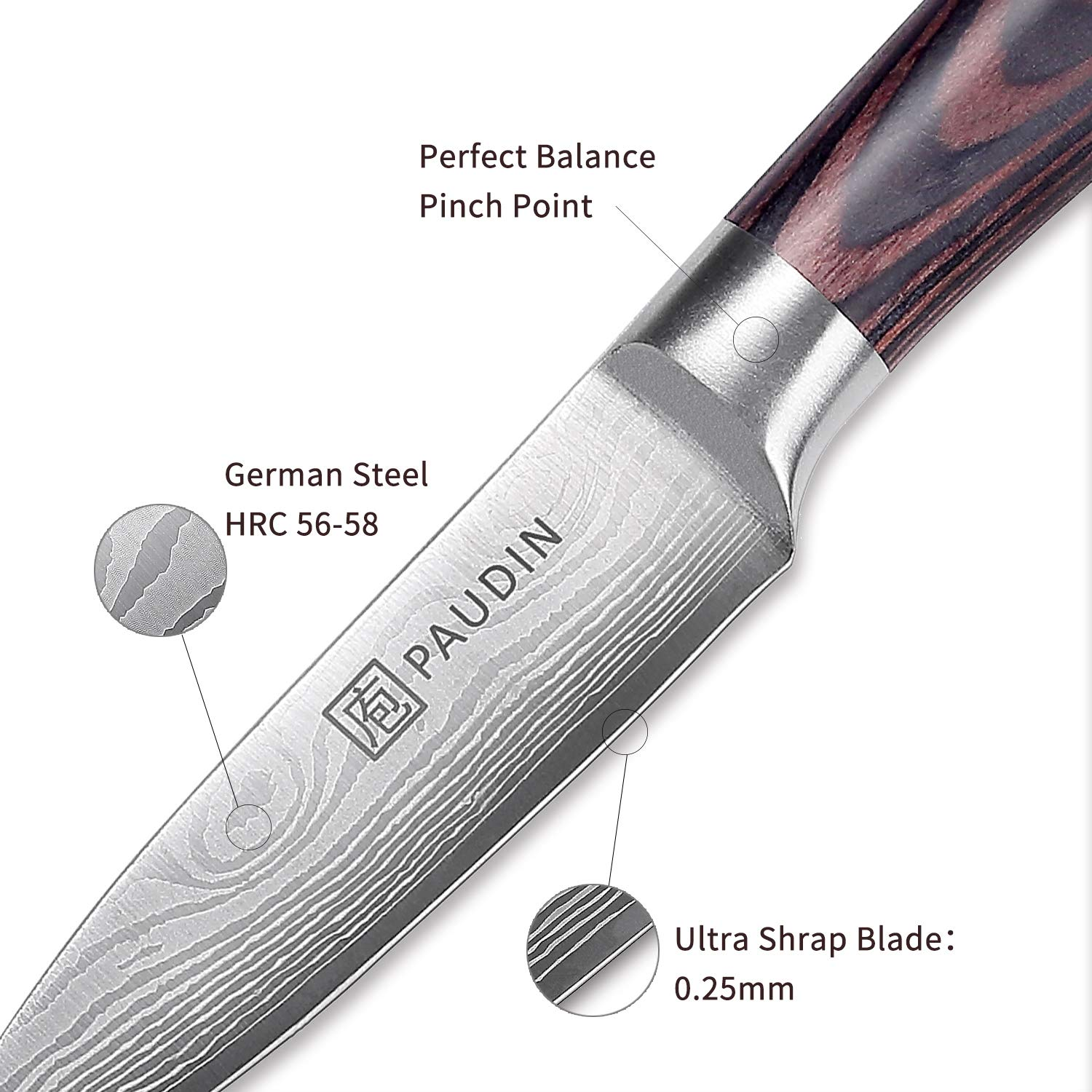 Paring Knife - PAUDIN 3.5 Inch Kitchen Knife N8 German High Carbon Stainless Steel Knife, Fruit and Vegetable Cutting Chopping Carving Knives by PAUDIN (Image #4)