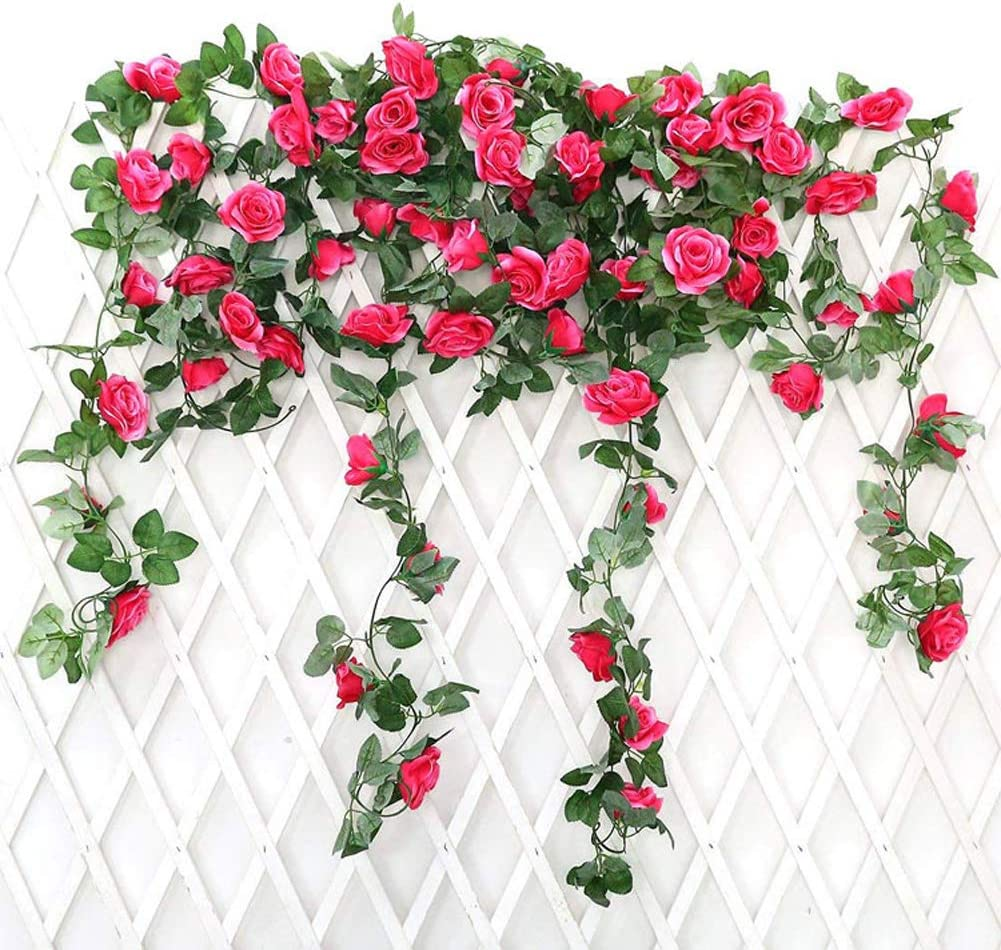Fuchsia JUSTOYOU 2PCS Artificial Rose Vines Flowers Garland Hanging Silk Rose Vine Wedding Home Office Arch Arrangement Decoration 7.9FT