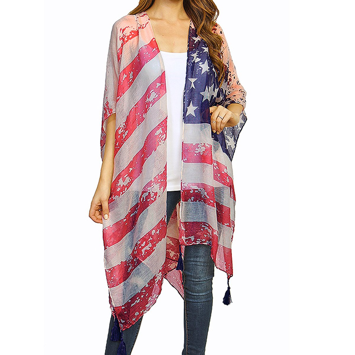 TD Collections Women's Faded American Flag Sleeveless Cardigan Vest (Gray/Pink Tassle)