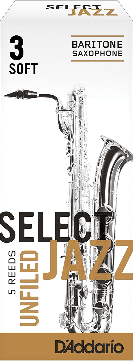 Rico Select Jazz Baritone Sax Reeds, Unfiled, Strength 3 Strength Hard, 5-pack D'Addario &Co. Inc RRS05BSX3H