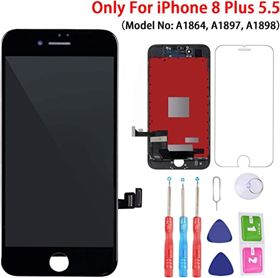 Screen Replacement for iPhone 8 Plus Screen Black 5.5 LCD 3D Touch Screen Digitizer Replacement Frame Display Assembly Set with Screen Protector and Repair Tools for iPhone 8 Plus Screen Replacement
