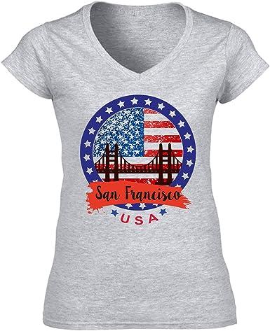 teesquare1st USA San Francisco Camiseta para Mujer de Algodon: Amazon.es: Ropa y accesorios