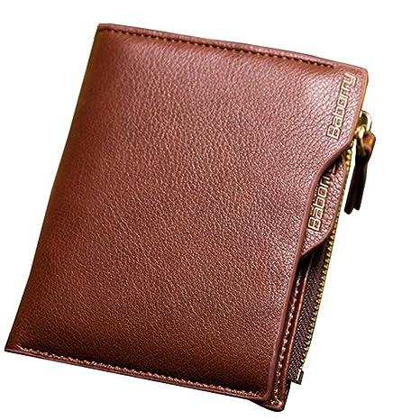 Cartera de Cuero Monedero de para Hombre, Gracosy RFID de Bloqueo Billetera Monedas Cremallera Billetera