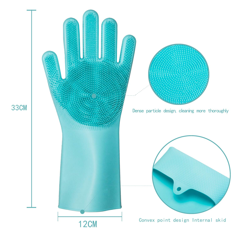 weikin - Guantes de Silicona mágicos - Guantes para Lavar Platos con Cepillo Limpieza de Lavado Resistente al Calor - Reutilizable para Lavar Platos ...