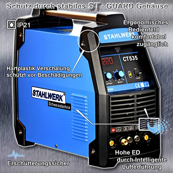 Acero de ct535 S - Combinado sudor dispositivo con Plasma Schneider, 220 amperios Wig/MMA + 55 amperios Cut, garantía de 5 años, color azul: Amazon.es: ...