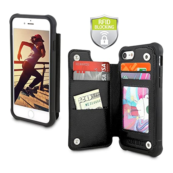 low priced 53a5b c5236 Gear Beast PU Leather Top View Wallet Case Fits iPhone 8 Plus / 7 Plus  Includes Flip Folio Cover, with Five Card Slots Including Transparent ID  Holder ...