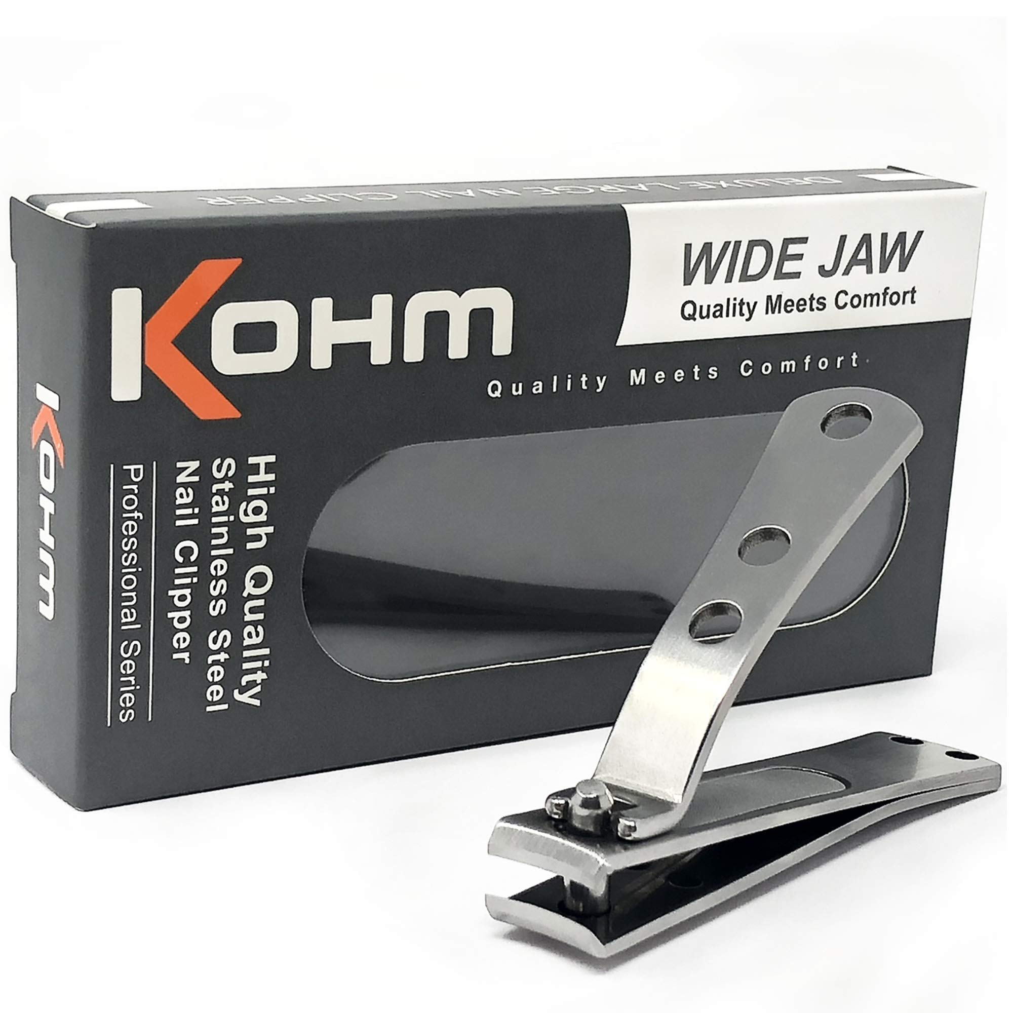 Kohm CP-140L Nail Clippers for Thick Nails, Wide Jaw, Curved Blade - Sharp, Heavy Duty, Large Stainless Steel Toenail Clippers for Thick Toenails for Men, Seniors, Adults with Built-In Nail File by Kohm