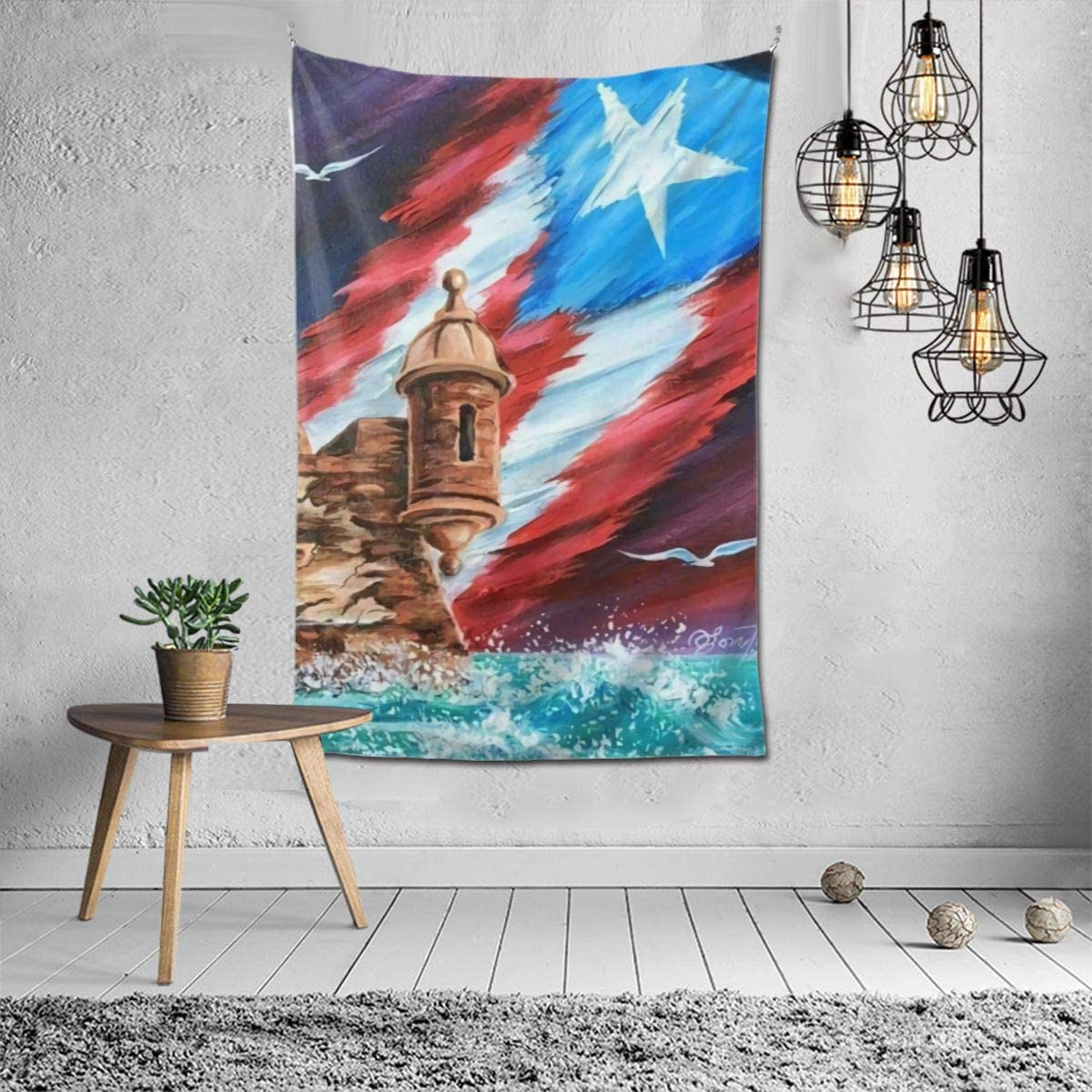 Bohemian Mandala Hippie Hippy Decor Tapestry, Wall Hanging, Home Decor Art - Puerto Rico Flag Wall Tapestry, Living Room, Bedroom, Dorm Room Tapestry, Meditation