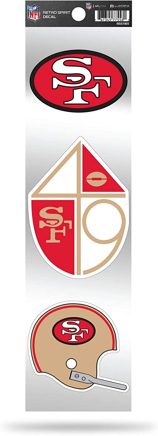 Rico Industries NFL San Francisco 49ers NFL 3-Piece Retro Spirit Decals, Team Color, Size of Individual Decals Will Vary
