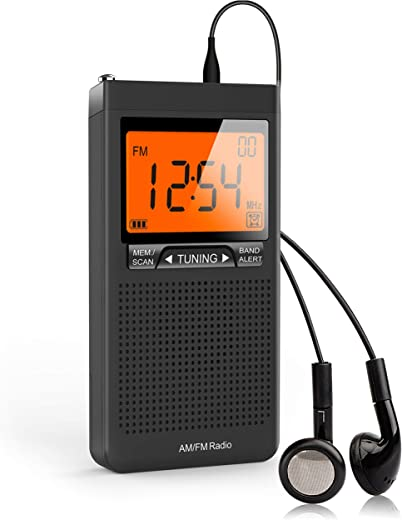 AM FM Portable Radio Personal Radio with Excellent Reception Battery Operated by 2 AAA Batteries with Stero Earphone, Large LCD Screen, Digtail Alarm Clock Radio