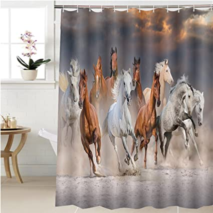 Gzhihine Shower Curtain Horse Herd Run Fast In Desert Dust Against Dramatic Sunset Sky Bathroom Accessories
