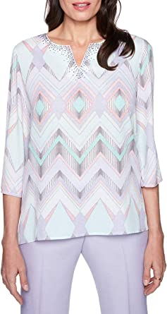 Alfred Dunner Petite Home for The Holidays Floral Top