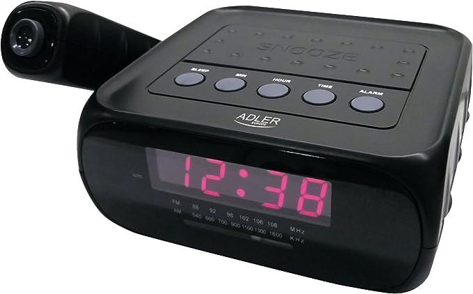 Adler Radio Reloj Despertador con proyector, plastico, Negro, 19 x 7 x 16