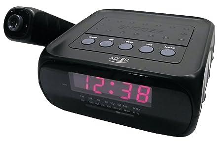 Adler Radio Reloj Despertador con proyector, plastico, Negro, 19 x ...