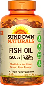 Sundown Naturals Fish Oil 1200 mg With Natural Omega-3, 100 Softgels (Pack of 2)