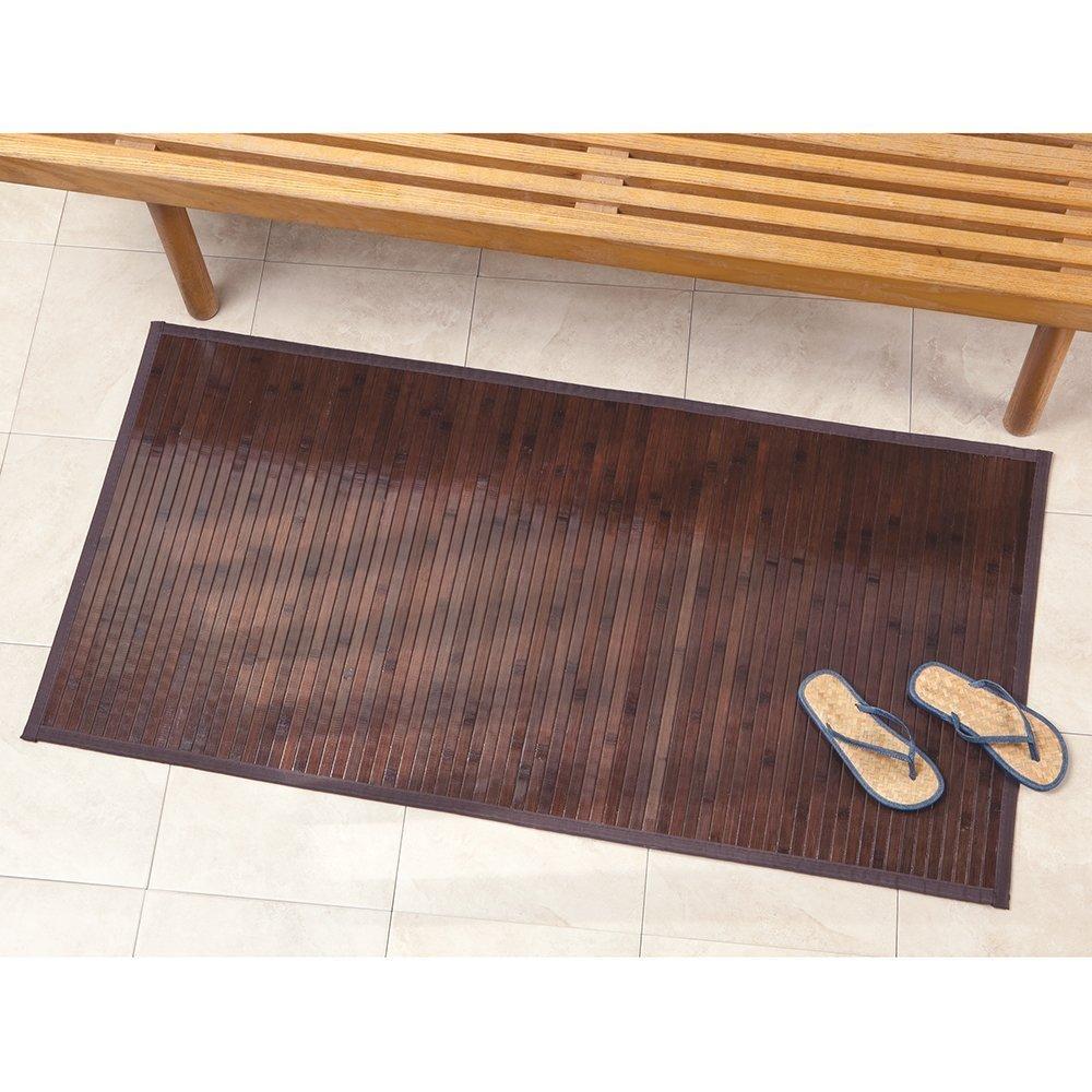 InterDesign Formbu Bamboo Floor Mat for Bathroom Kitchen Mudroom Pack of 2 Entryway Mocha Brown Medium