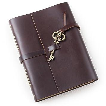 Unique cuero diario diario con clave hecha a mano forrado en blanco papel Kraft con caja de regalo: Amazon.es: Oficina y papelería