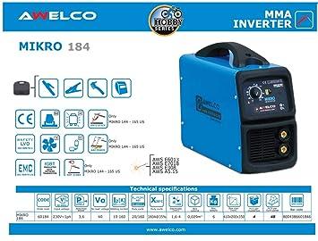 Soldadora inverter de electrodo 160 Amp Awelco - Mikro 184: Amazon ...