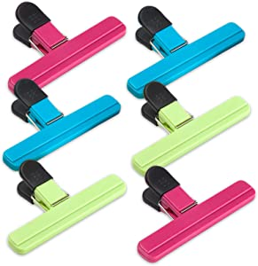 6Pack Large Size Chip Bag Clips, Assorted Colors Foods Snacks Bag Paper Clips, Plastic Heavy Duty Seal Grips