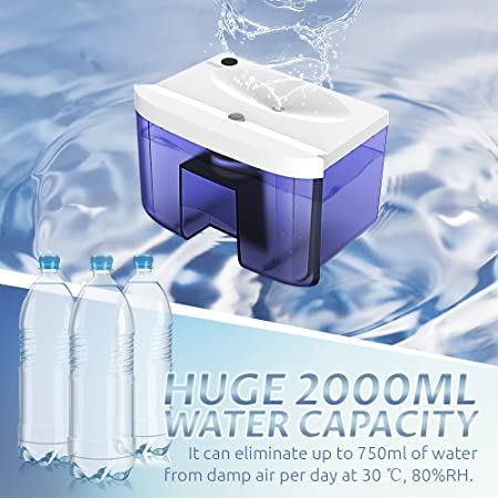 Hysure Quiet and Portable Dehumidifier Electric, Deshumidificador, Home Dehumidifier for Bathroom, Crawl Space, Bedroom, RV, Baby Room 2000ml