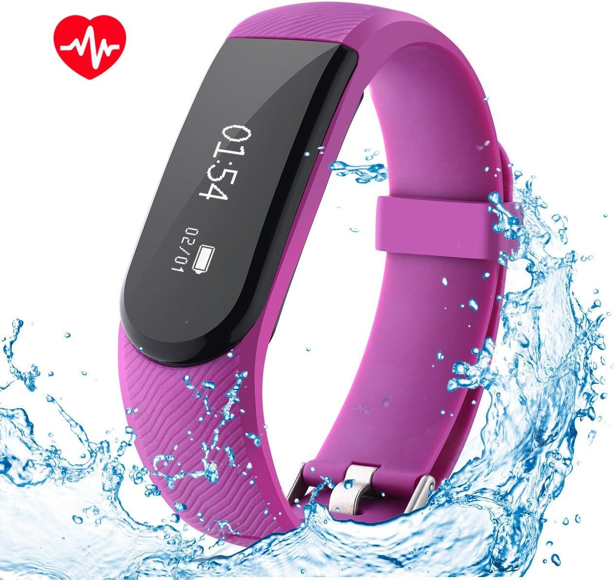 OMORC Pulsera de Actividad Inteligentes con Ritmo Cardíaco, Impermeable IPx7, Podómetro, Monitor de Sueño, Control Remoto de Móvil para iOS 7.1 o Superior y Android 4.4 o Superior (Púrpura)