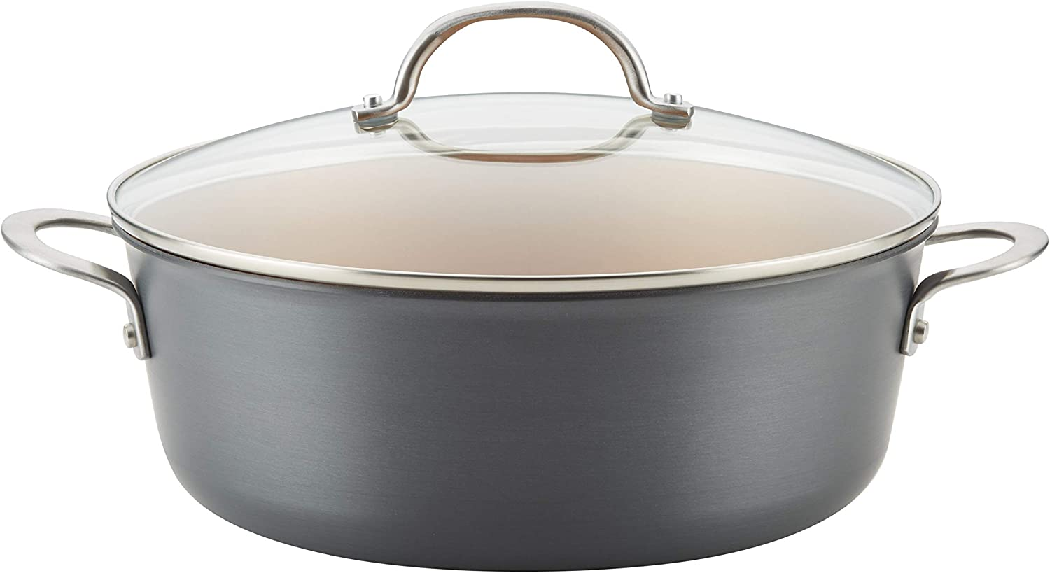 Ayesha Curry 80189 Home Collection Nonstick Stock Pot/Stockpot with Lid, 7.5 Quart, Charcoal Gray