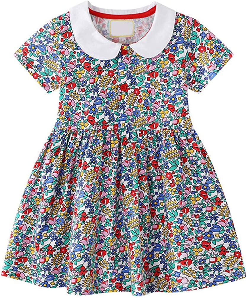 Allesgut Little Girls Summer Dresses with Matching Leggings Cotton Set for 3-8 Years