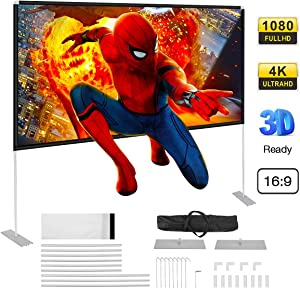 Powerextra Projector Screen with Stand, 100 inch 16:9 HD 4K Rear Front Foldable Portable Projection Screen with Carry Bag for Indoor Outdoor Theater Home Movie or Office