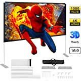 Powerextra Projector Screen with Stand, 100 inch 16:9 HD 4K Rear Front Foldable Portable Projection Screen with Carry…