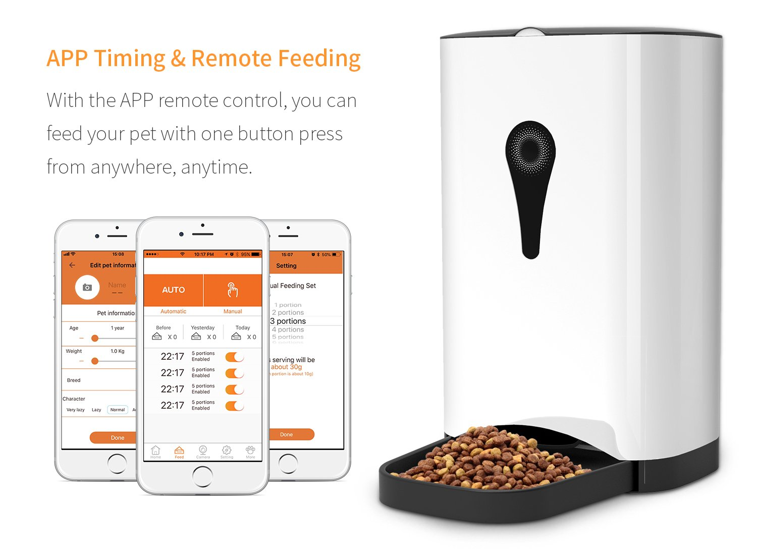 Smart Automatic Cat Feeder - SUKI&SAMI Pet Food Dispenser, with Timer Programmable, Voice Recording, WI-FI Enabled APP control Up to 8 Meals a Day by SUKI&SAMI (Image #2)