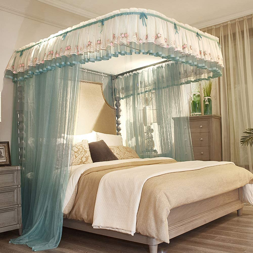 暗号化糸蚊帳,グリーン ラグジュアリー ベッド キャノピー 引き込み式 の-形 インスタイルモスキートネット-b