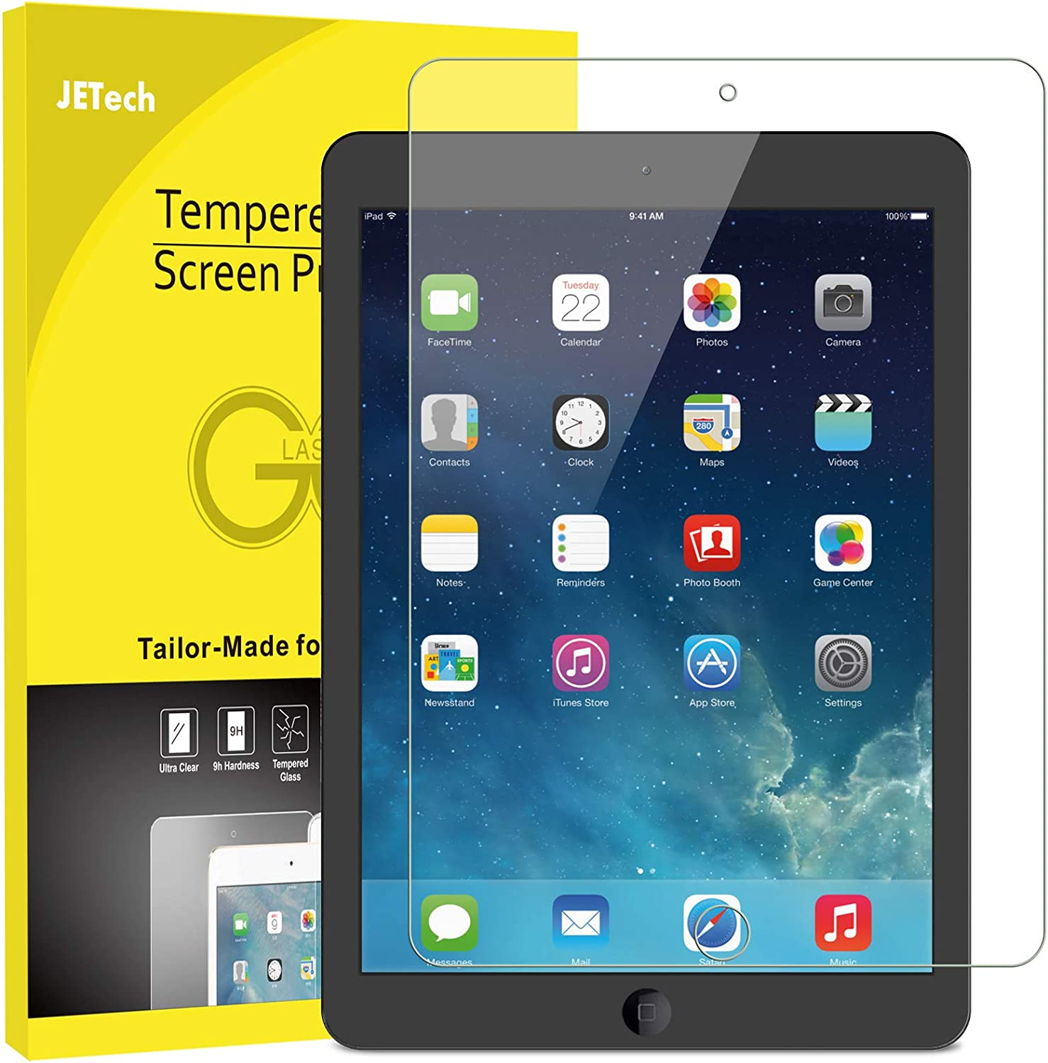 JETech Screen Protector for iPad (9.7-Inch, 2018/2017 Model, 6th/5th Generation), iPad Air 1, iPad Air 2, iPad Pro 9.7-Inch, Tempered Glass Film: Computers & Accessories