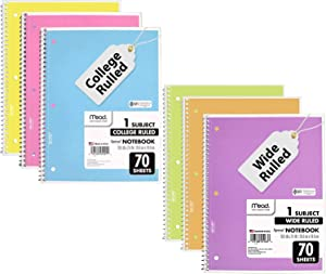 Mead School Notebooks, 3 College Ruled with 3 Wide Ruled Spiral Notebooks (6 Pack Total), Pastel Color Spiral Bound Notebooks, 1-Subject 70 Page, Cute Notebook for School Home and Office.