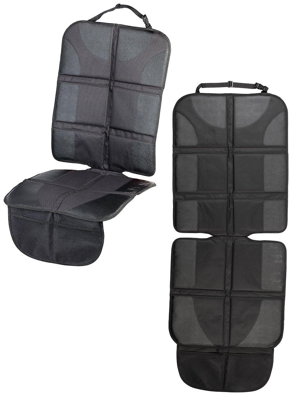 Autositz-Schutzunterlage Isofix-geeignet Lescars Sitzauflage: 2er-Set Premium-Kindersitz-Unterlage 2 Netztaschen