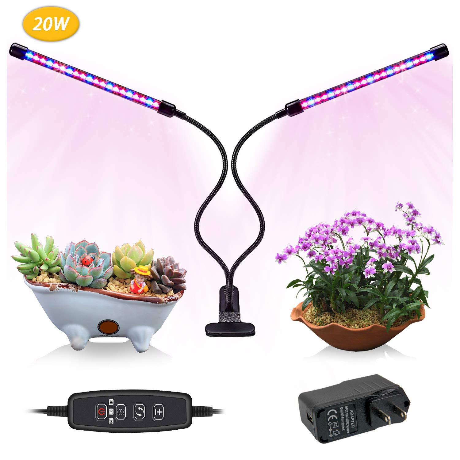 Indoor Grow Light,JEKOMI 20W Timming Plant Grow Lamp with 40 LED Bulbs,9 Dimmable Levels,Red Blue Spectrum,3/9/12H Timer,3 Switch Modes