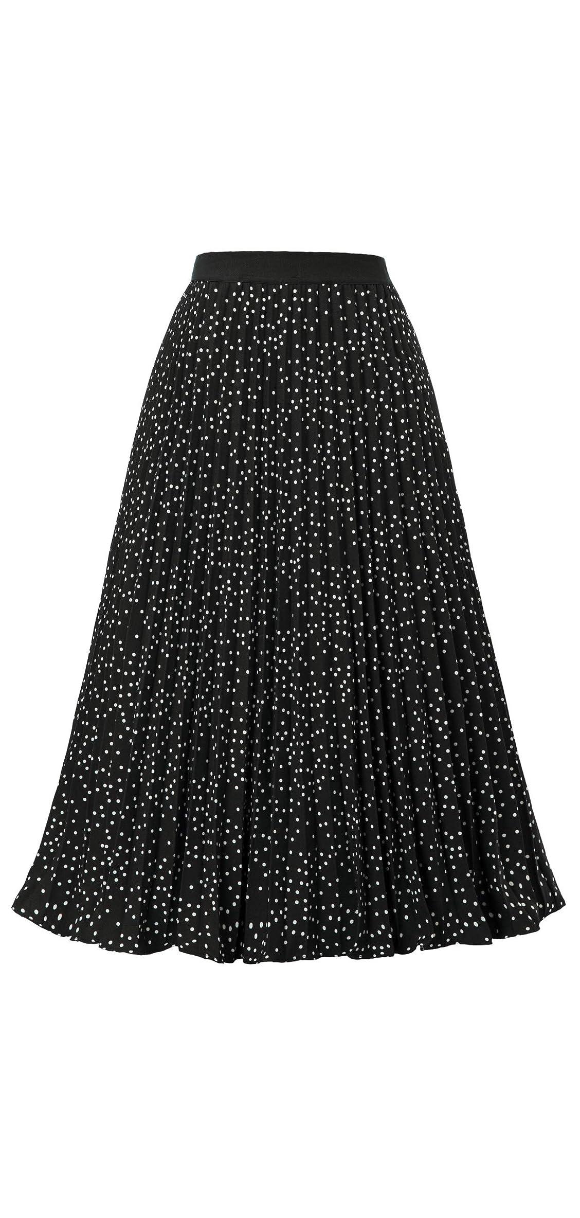 Women's High Waist Pleated A-line Swing Skirt Kk