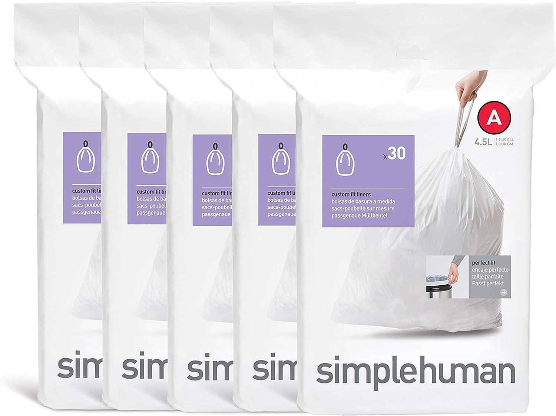 simplehuman Code A Custom Fit Drawstring Trash Bags, 4.5 Liter / 1.2 Gallon, 150 Pack, White