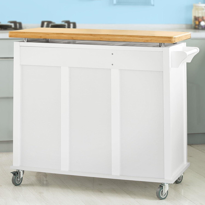 SoBuy® Luxus-Küchenwagen, Arbeitsplatte aus hochwertigem Bambus ...